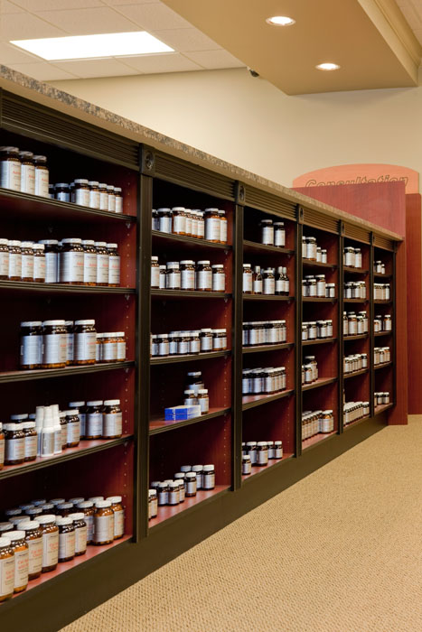Custom Wood Pharmacy Shelving