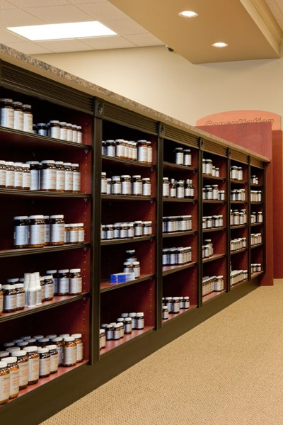 Custom Wood Pharmacy Shelving
