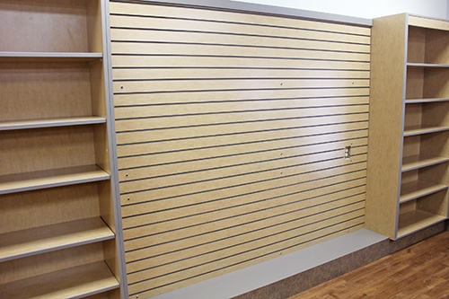 Custom Wood Slatwall Shelving