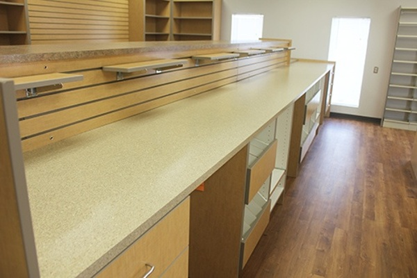 Pharmacy Slatwall Shelving and Workspace