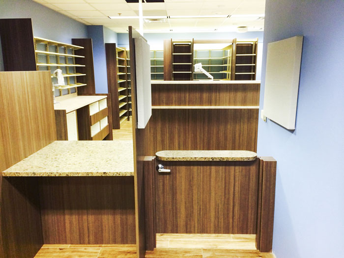 Custom Check Out Standing Consultation with Acoustical Panels Pharmacy