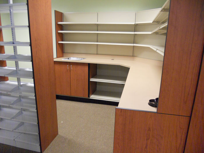 Pharmacy Corner Work Station with Sink Unit